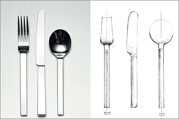 David Mellor Odeon Stainless Steel and design sketch.