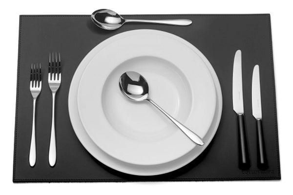 Pride black handled six-piece cutlery place setting. PRODUCT CODE 4993758. Black acetal resin knife handle. Comprising:  1 table knife 1 dessert knife 1 table fork 1 dessert fork 1 soup spoon 1 dessert spoon