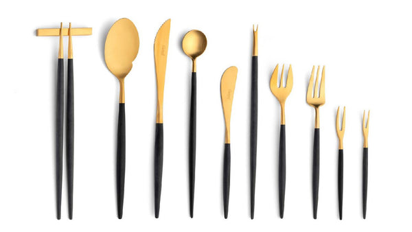 GOA BLACK MATTE BRUSHED GOLD PLATED Pastry fork; Butter knife; Long drink spoon; Lobster fork; Oyster fork; Steak knife; Cheese knife; Snail fork; Gourmet spoon; Chopstick set with support (3 pieces); and Japanese fork.