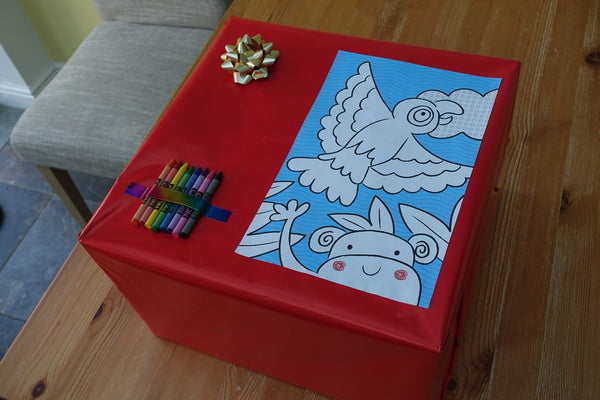 Baby gift wrap with crayons