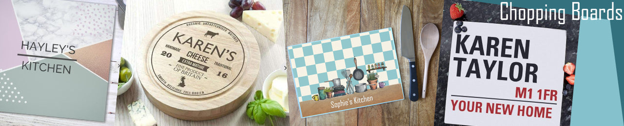 A collection of personalised chopping boards including wooden chopping boards and glass chopping boards.