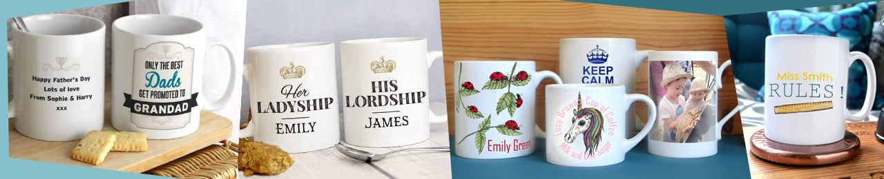 A collection of personalised mugs featuring different designs