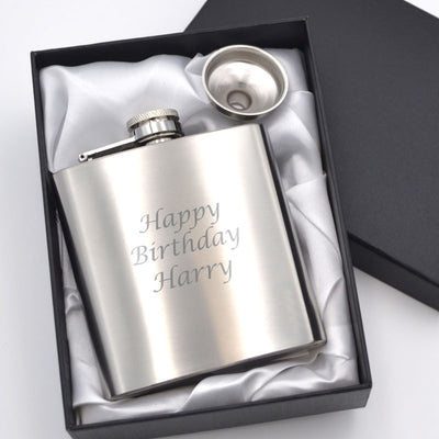 Personalised silver hip flask engraved with a birthday message