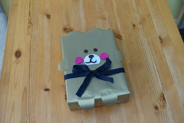 Teddy bear baby present wrapping