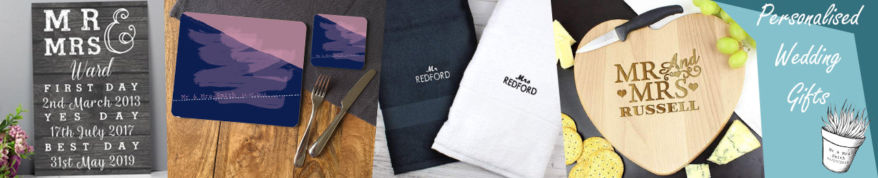 A collection of personalised wedding gifts including an engraved slate, personalised place mats, a set of towels and a customised chopping board.