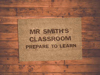 welcome doormat gift for teacher's classroom
