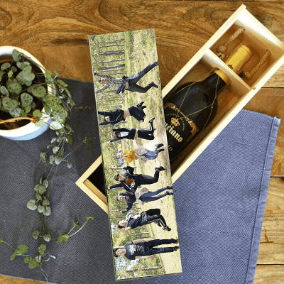Wooden wine box with photo lid