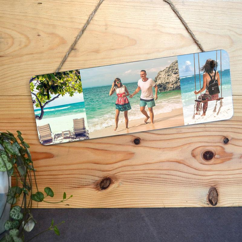 A personalised hanging sign with 3 holiday photos printed on it.