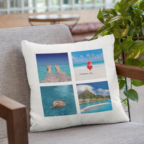 A personalised white cushion with 4 square holiday images printed on it in a tile pattern.