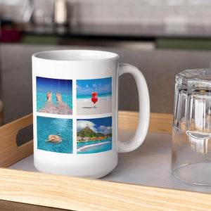 A personalised large mug with 4 square images printed on it in a tile pattern. The mug is on a wooden tray next to a glass.