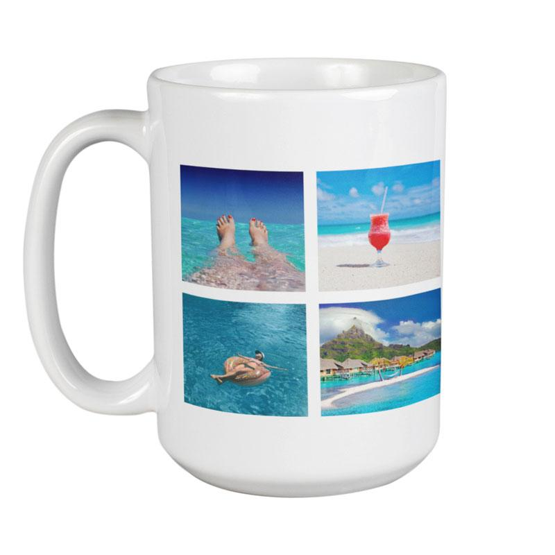 A personalised large mug with 4 square images printed on it in a tile pattern.