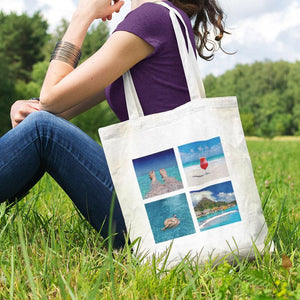 Personalised white shopping bag with 4 holiday photos printed on it in a tile pattern.