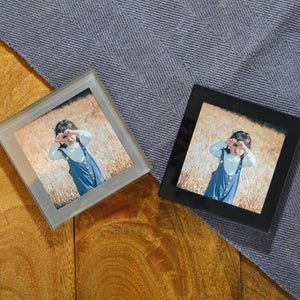 Personalised Glass Photo Coaster Black or Silver Border