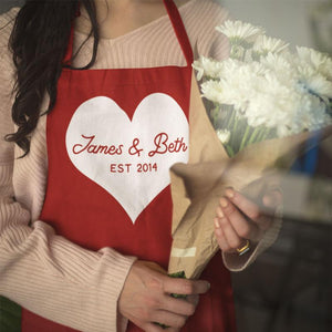 A personalised Valentine's Day apron in white and red