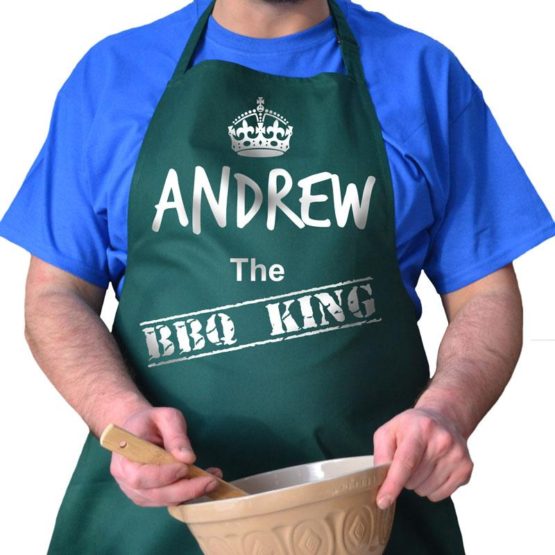 Personalised BBQ King apron in bottle green with white print
