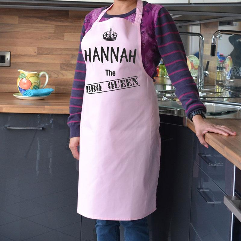Personalised BBQ King apron in light pink with black print