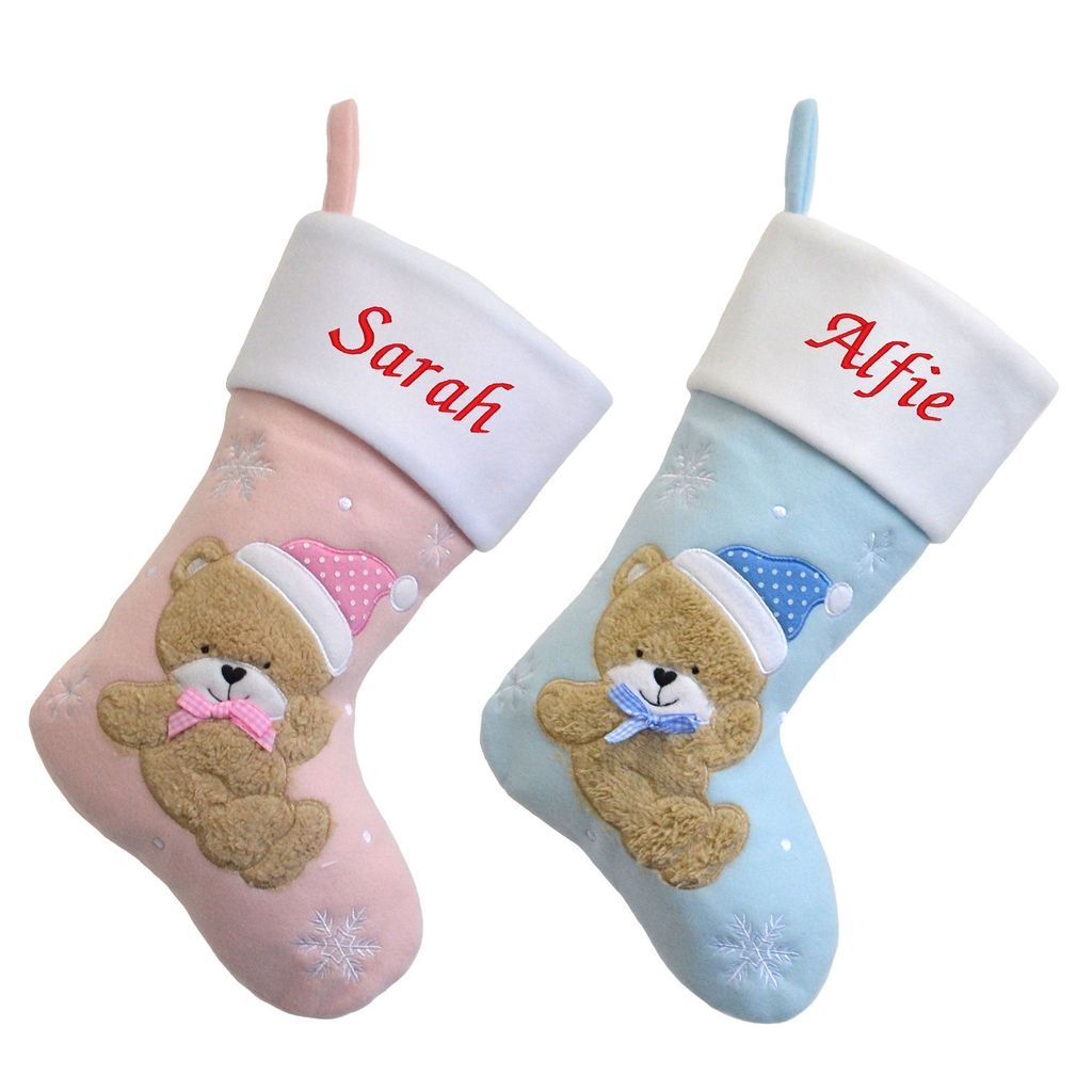 Personalised Embroidered Luxury Blue or Pink Teddy Bear Christmas Stockings