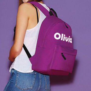 "A personalised backpack with the name ""Olivia"" printed on it"