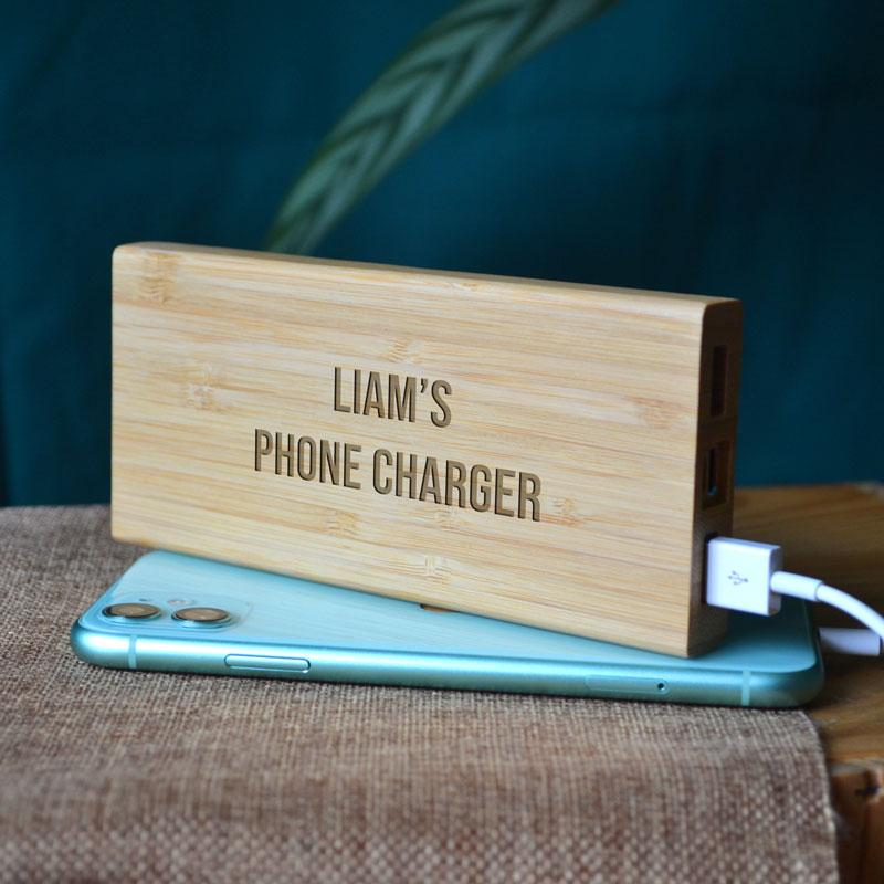 Personalised Bamboo Powerbank Wireless Charger for Smartphone Engraved