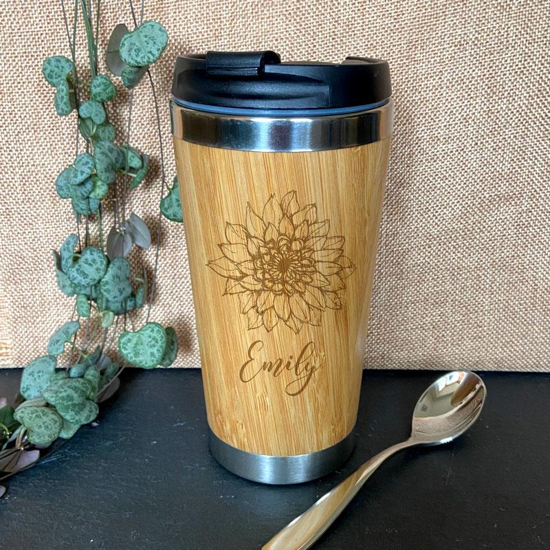 Personalised Engraved Flower Pattern Bamboo Travel Cup