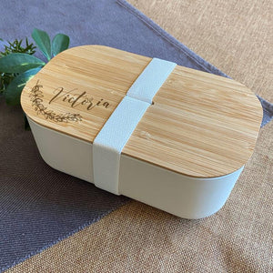 Personalised Engraved Bamboo Lunch Box Eco Friendly