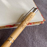 Personalised Bamboo Pen Engraved Flower Icon