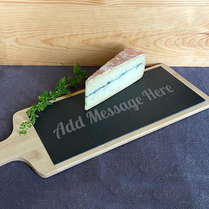 Personalised Bamboo and Slate Cheese Board Message