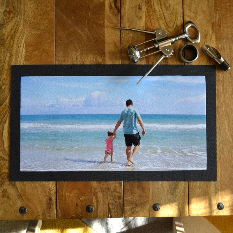 Personalised Photo Bar Mat Ideal for Father's Day, Birthdays & Man Caves