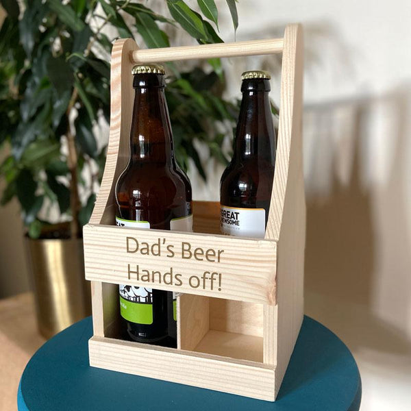 Personalised Wooden Beer Bottle Carrier Any Message