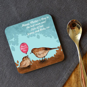 Personalised Mother's Day Little Bird Illustration Square Coaster