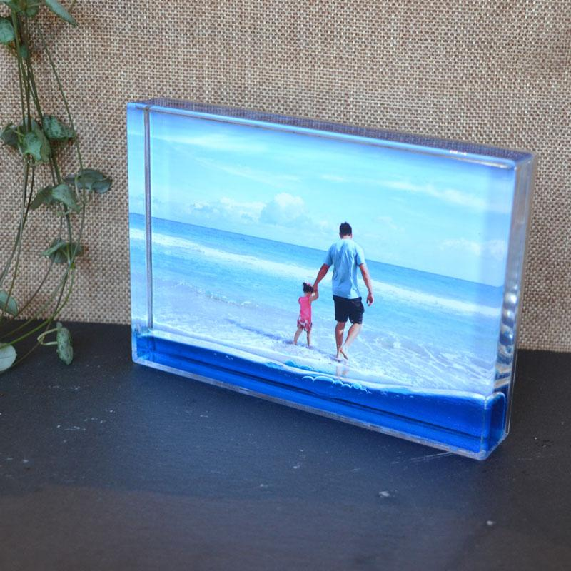 Personalised Liquid Colour Shake Acrylic Photo Block Blue Green or Red