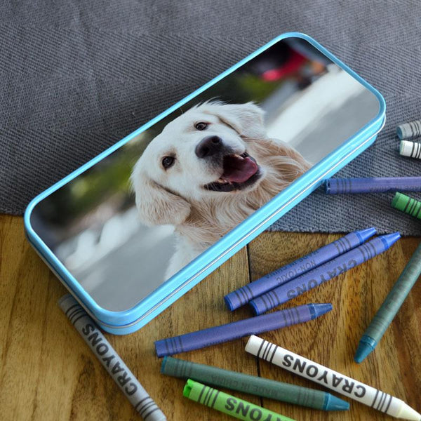 Personalised Blue Photo Metal Pencil Case