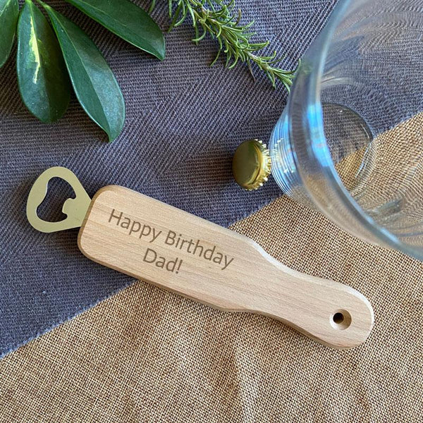 Personalised Engraved Wooden Bottle Opener Any Message