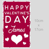 A personalised 10cm x 17cm wine label