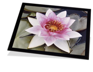 Personalised glass photo placemat with a black boarder