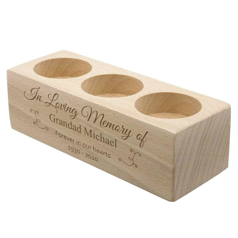 Personalised Wooden Memorial Candle Holder