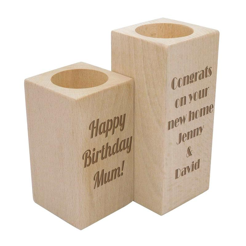 Personalised Solid Wood Tealight Candle Holder Any Message