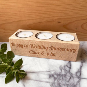 Personalised Solid Beech Triple Tealight Candle Holder Message