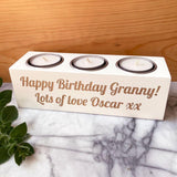 Personalised Luxury White Triple Candle Holder Any Message