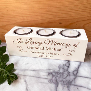 A personalised memorial candle holder in white with 3 tealights.