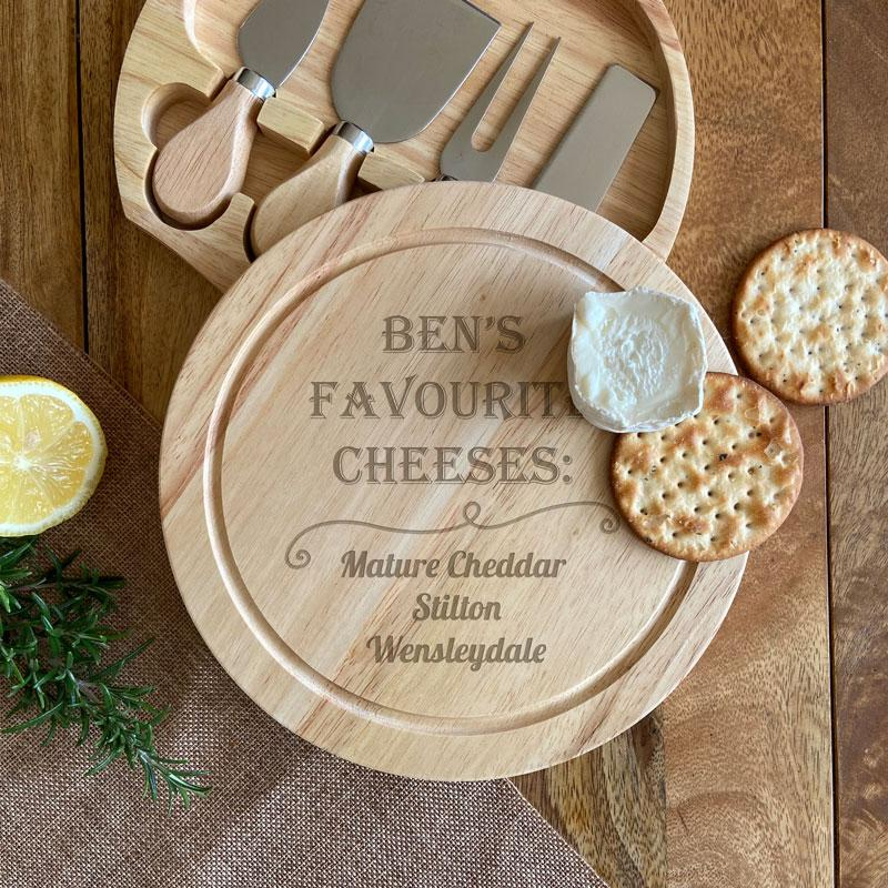 Personalised Favourite Cheeses Cheese Board and Knife Set