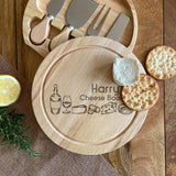 Personalised Cheese Board Cheese Illustrations with Knife Set