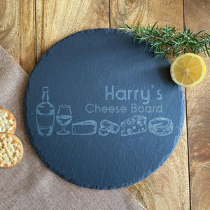 Personalised Engraved Round Slate Cheese Serving Board