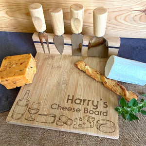 Personalised Wooden Cheese Board Magnetic Knife Set