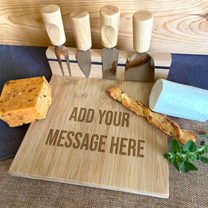 Personalised Engraved Bamboo Cheese Board Magnetic Knife Set