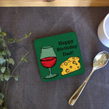 Personalised Cheese and Wine Square Leather Look Coaster