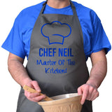 Personalised chef apron in charcoal with blue print