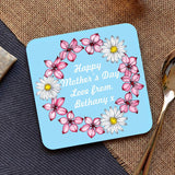 A personalised blue flowery mother's day coaster