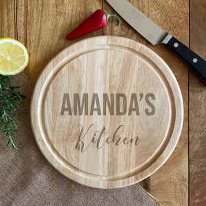Personalised Circle Wooden Chopping Board