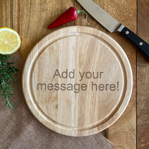 Personalised Engraved Circular Wooden Chopping Board Message